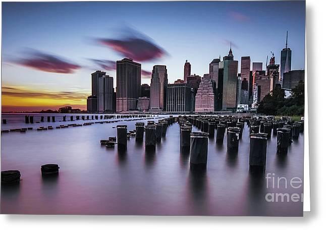 Lower Manhattan Purple Sunset Greeting Card