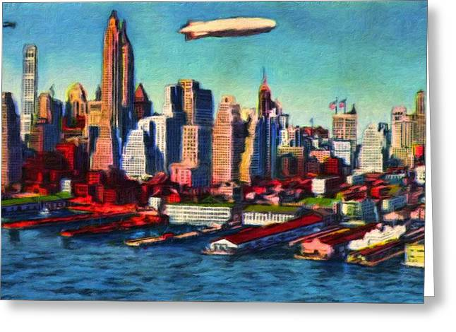 Lower Manhattan Skyline New York City Greeting Card by Vincent Monozlay