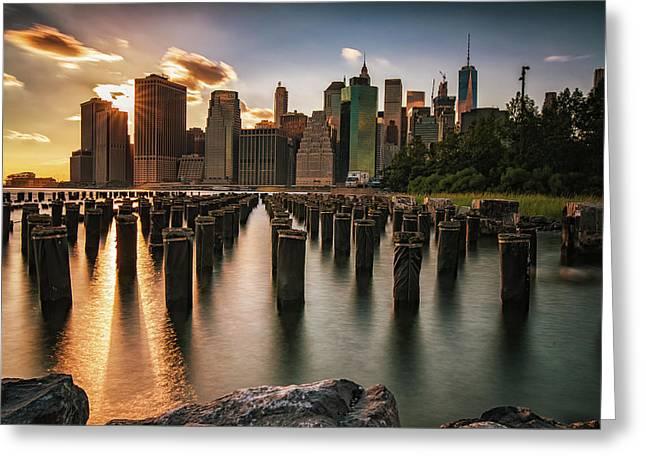 Lower Manhattan Sunset Twinkle Greeting Card
