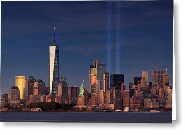 Greeting Card featuring the photograph Lower Manhattantribute In Light by Emmanuel Panagiotakis