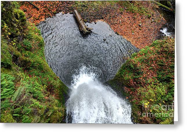 Lower Multnomah Falls From Benson Bridge - Columbia Gorge Greeting Card