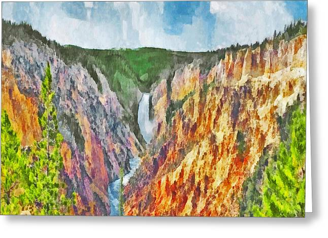 Greeting Card featuring the digital art Lower Yellowstone Falls by Digital Photographic Arts