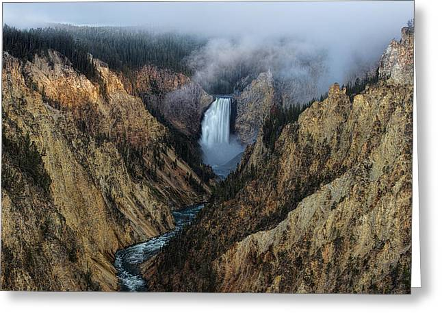 Lower Yellowstone Falls Sunrise Greeting Card