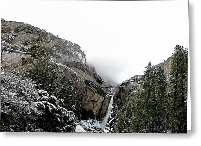 Lower Yosemite Falls California Greeting Card by Larry Darnell