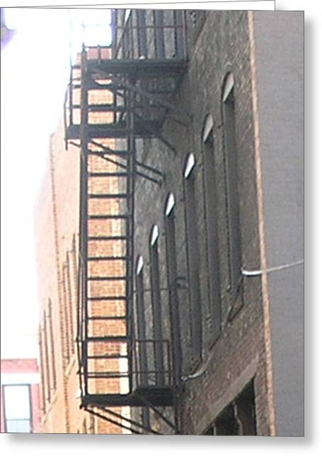 Lowertown Fire Escape Greeting Card by Janis Beauchamp