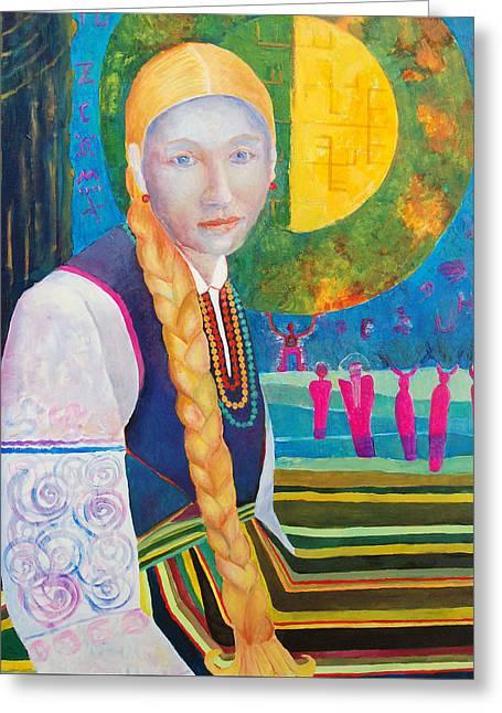 Polish Folk Art Woman  Greeting Card by Magdalena Walulik