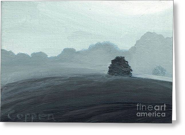 Lowland Fields And Mist Greeting Card by Robert Coppen