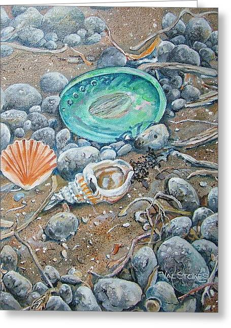 Lowtide Treasures Greeting Card by Val Stokes