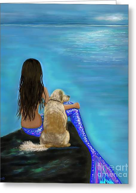 Greeting Card featuring the painting Loyal Loving Buddy by Leslie Allen