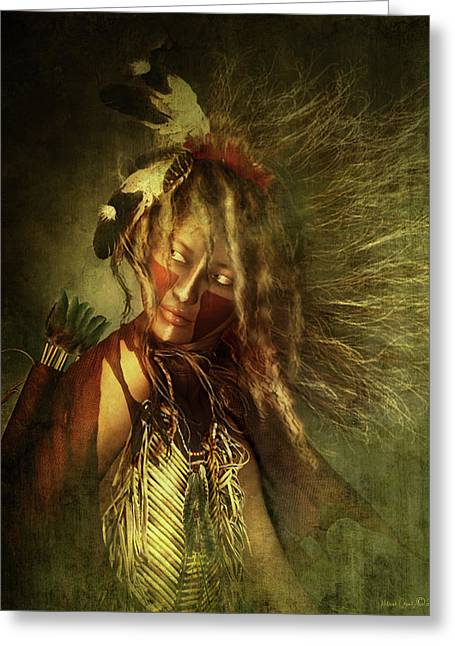 War Paint Art Greeting Cards - Lozen Portrait Greeting Card by Shanina Conway