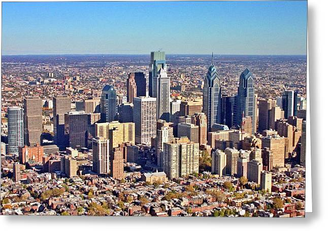 Greeting Card featuring the photograph Lrg Format Aerial Philadelphia Skyline 226 W Rittenhouse Sq 100 Philadelphia Pa 19103 5738 by Duncan Pearson