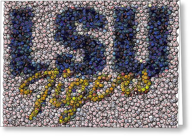 Lsu Bottle Cap Mosaic Greeting Card by Paul Van Scott