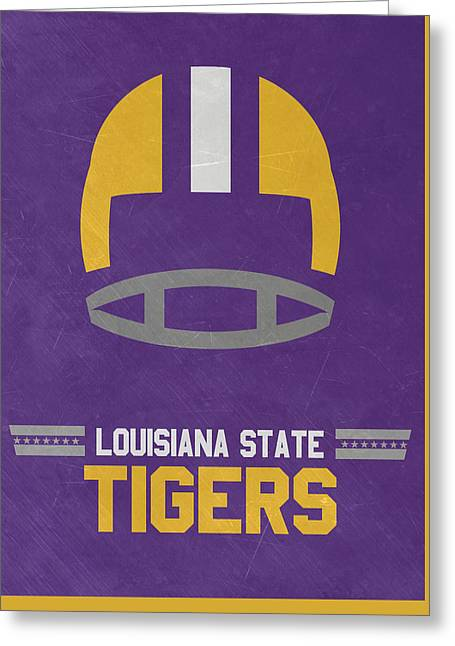 Lsu Tigers Vintage Football Art Greeting Card