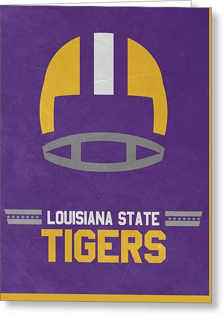 Lsu Tigers Vintage Football Art Greeting Card by Joe Hamilton