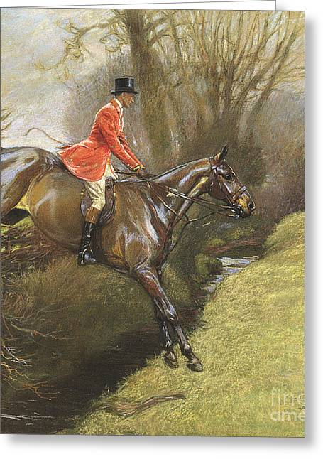Landing Paintings Greeting Cards - Lt Col Ted Lyon Jumping a Hedge Greeting Card by Cecil Charles Windsor Aldin