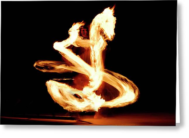 Luau Fire Dancer At Night With A Flaming Dragon Greeting Card by Reimar Gaertner