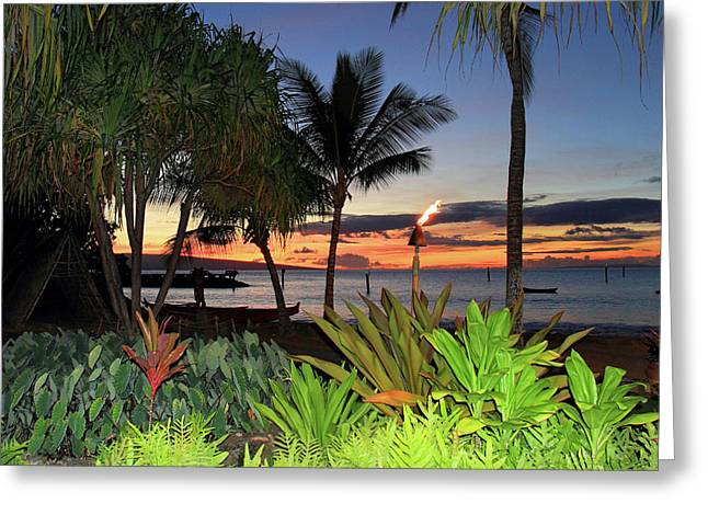Luau Sunset Maui Greeting Card by Pierre Leclerc Photography