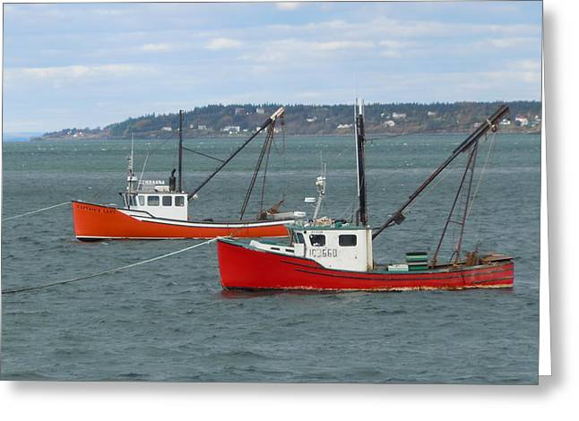 Greeting Card featuring the photograph Lubec Lobster Boats by Francine Frank