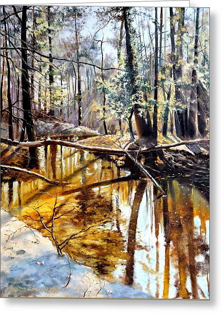 Greeting Card featuring the painting  Lubianka-2-river by Henryk Gorecki