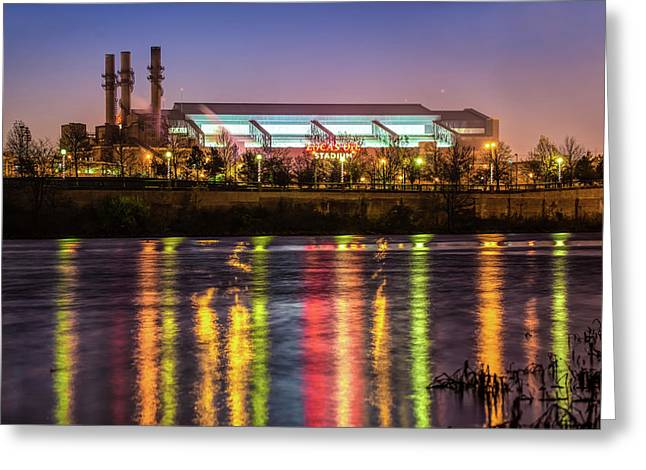 Lucas Oil Stadium At Night - Home Of The Indianapolis Colts Greeting Card
