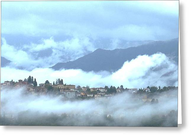 Lucca In The Fog Greeting Card by Winston Moran