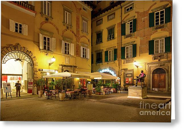Lucca Piazza Greeting Card by Brian Jannsen