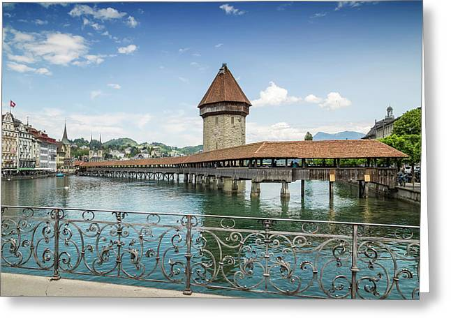 Lucerne Chapel Bridge And Water Tower Greeting Card