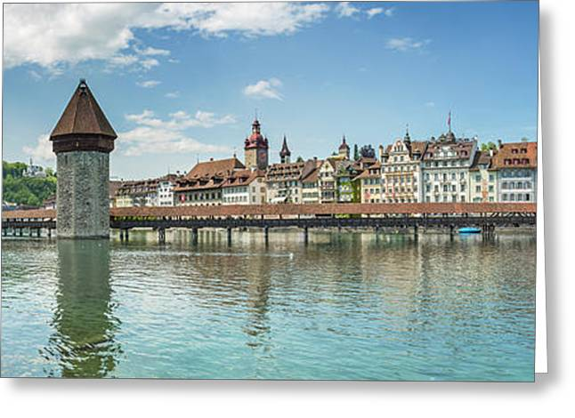 Lucerne Chapel Bridge And Water Tower - Panoramic Greeting Card