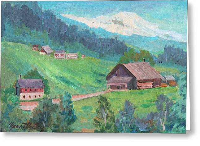 Greeting Card featuring the painting Lucerne Countryside by Diane McClary