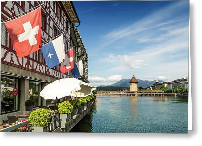 Lucerne Reuss Riverside Greeting Card