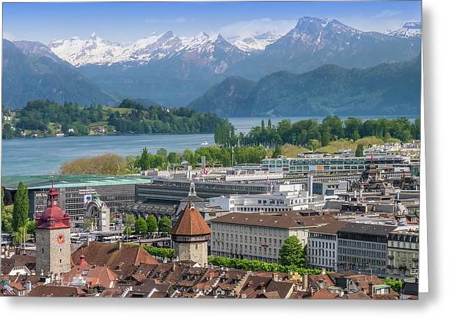 Lucerne View To Lake Lucerne Greeting Card by Melanie Viola