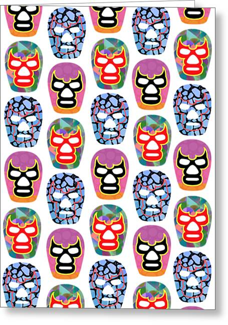 Lucha Libre Masks Greeting Card by Edward Fielding