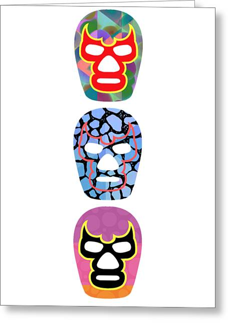 Lucha Libre Mexican Professional Wrestling Totem Greeting Card by Edward Fielding