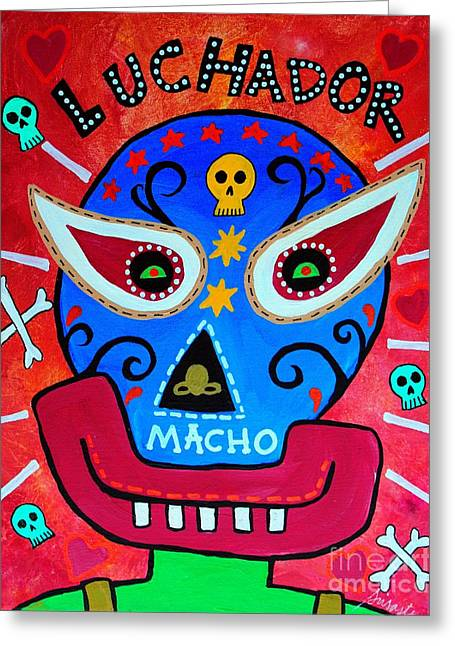 Greeting Card featuring the painting Luchador by Pristine Cartera Turkus
