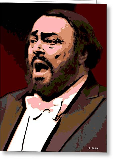 Pavarotti Greeting Cards - Luciano Greeting Card by George Pedro