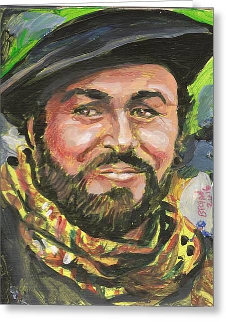 Luciano Pavarotti Greeting Card by Bryan Bustard