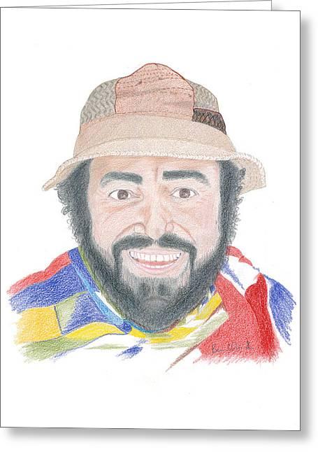 Luciano Pavarotti Portrait  Greeting Card by Bernardo Capicotto