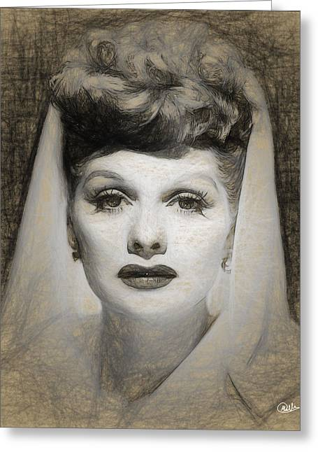Lucille Ball Draw Greeting Card by Quim Abella