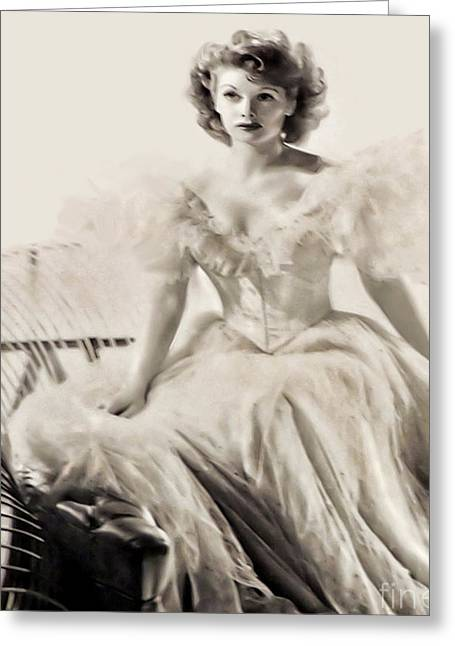 Lucille Ball Greeting Card by Joan Minchak