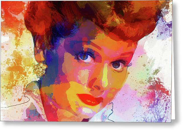 Lucille Ball Paint Splatter Greeting Card by Dan Sproul
