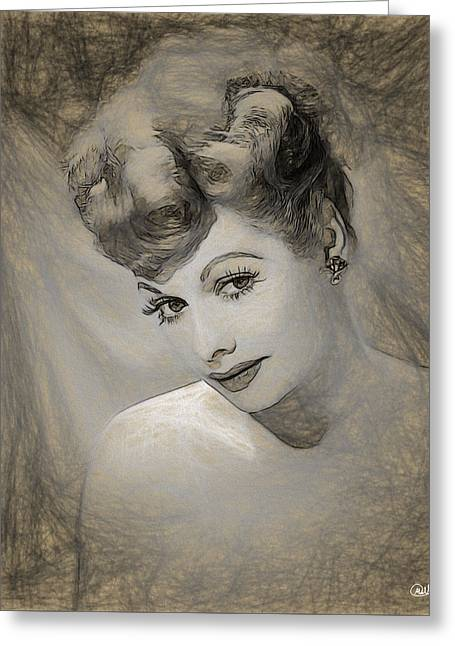Lucille Ball Pencil Draw Greeting Card by Quim Abella