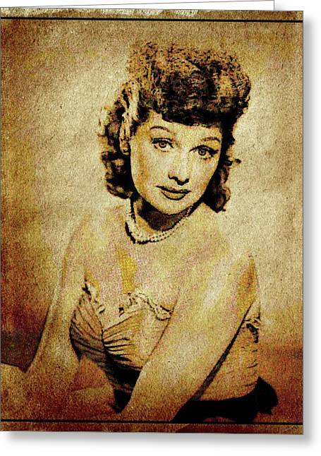Lucille Ball Vintage Hollywood Actress Greeting Card by Esoterica Art Agency