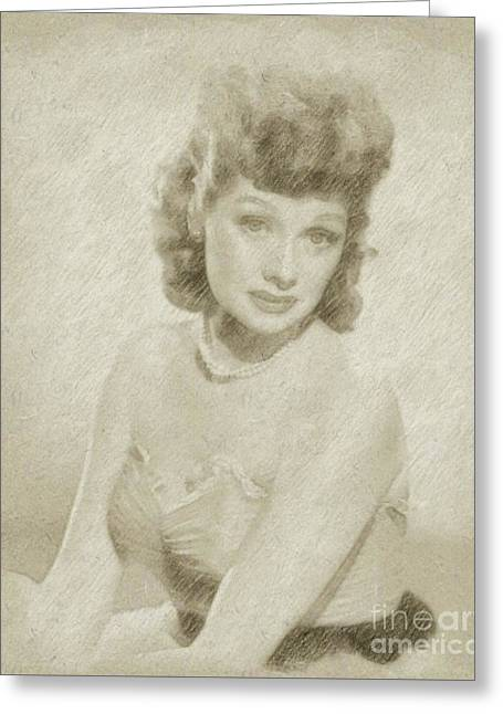 Lucille Ball Vintage Hollywood Actress Greeting Card by Frank Falcon