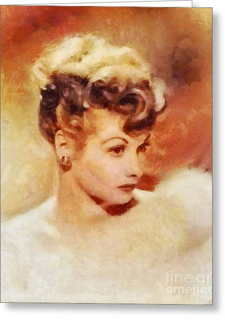 Lucille Ball, Vintage Hollywood Actress Greeting Card by Sarah Kirk