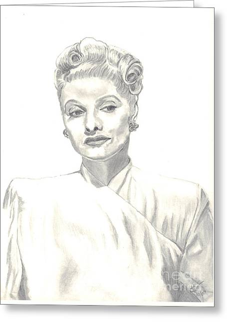 Greeting Card featuring the drawing Lucille by Carol Wisniewski