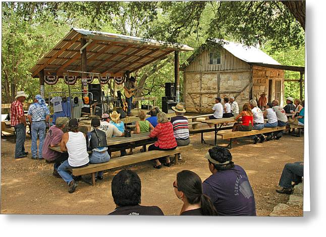 Luckenbach Music Greeting Card by Robert Anschutz