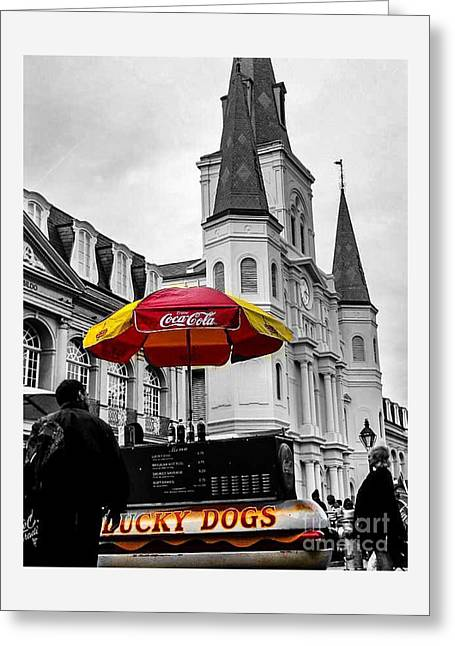 Lucky Dog At Church Greeting Card by Paula   Baker
