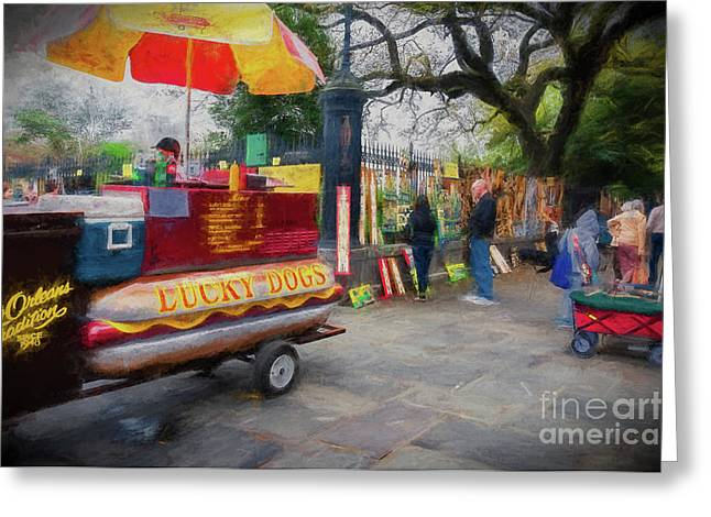 Lucky Dogs And Jackson Square - Nola Greeting Card by Kathleen K Parker