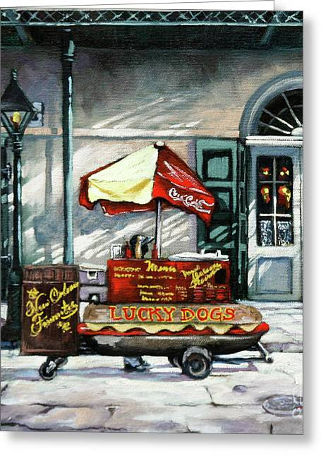 Greeting Card featuring the painting Lucky Dogs by Dianne Parks
