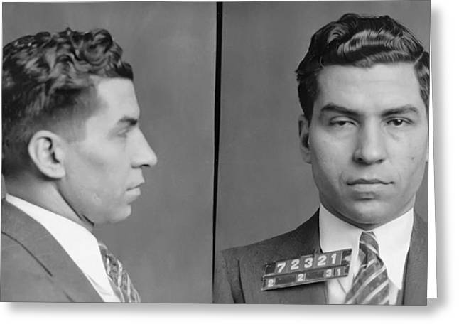 Mobsters Greeting Cards - Lucky Luciano Greeting Card by Bill Cannon